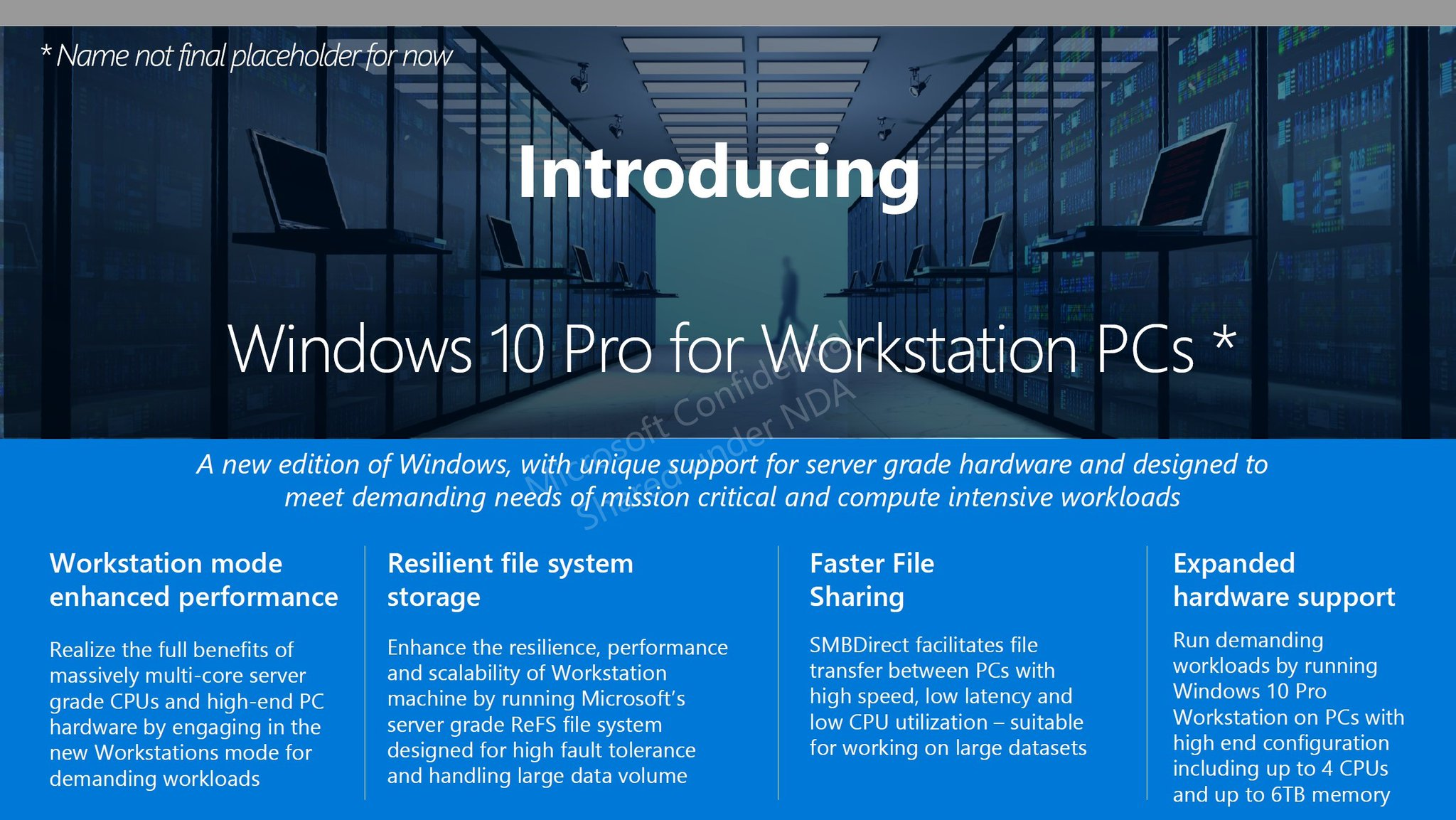 Windows 10 Pro for Advanced PCs comes with a replacement for the classic NTFS file system 1