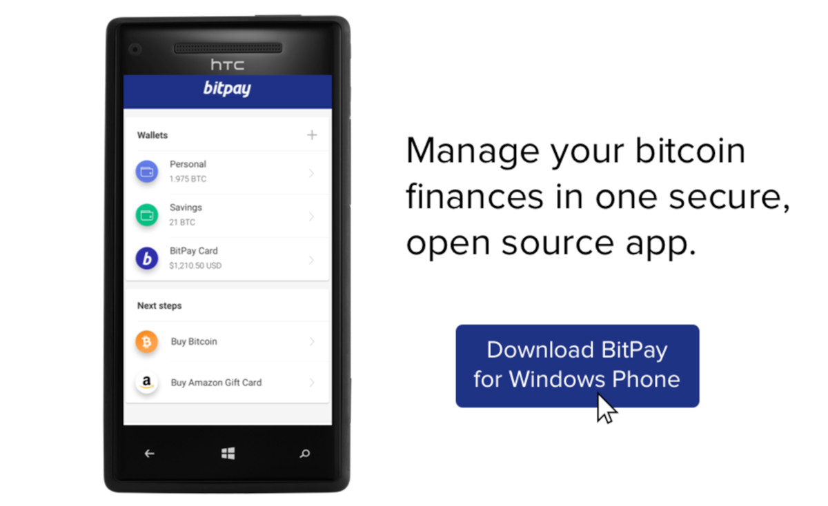 Official Bitpay Bitcoin Wallet Appes To Windows 10 Mobile