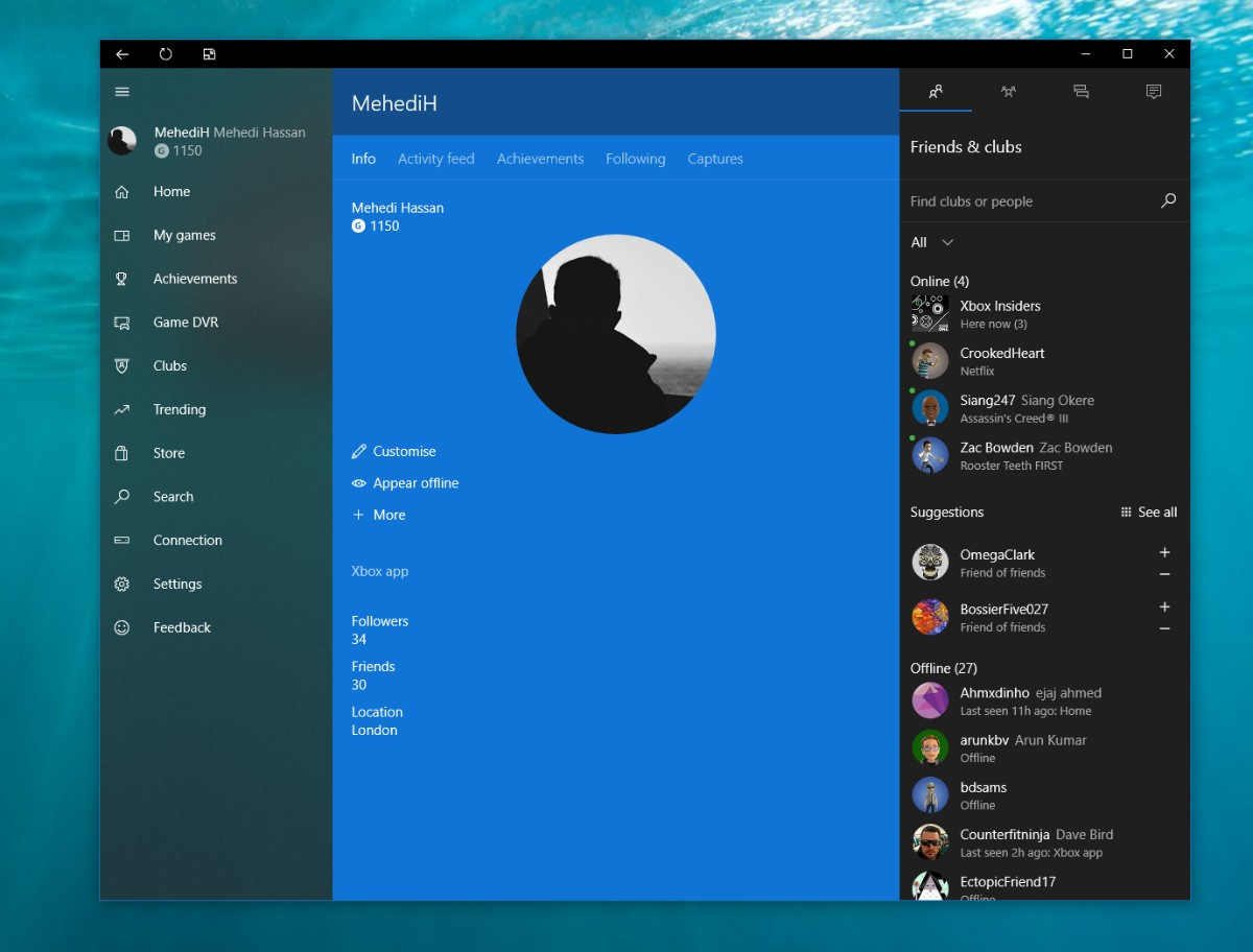 Xbox's Windows 10 app gets a touch of Fluent Design in new