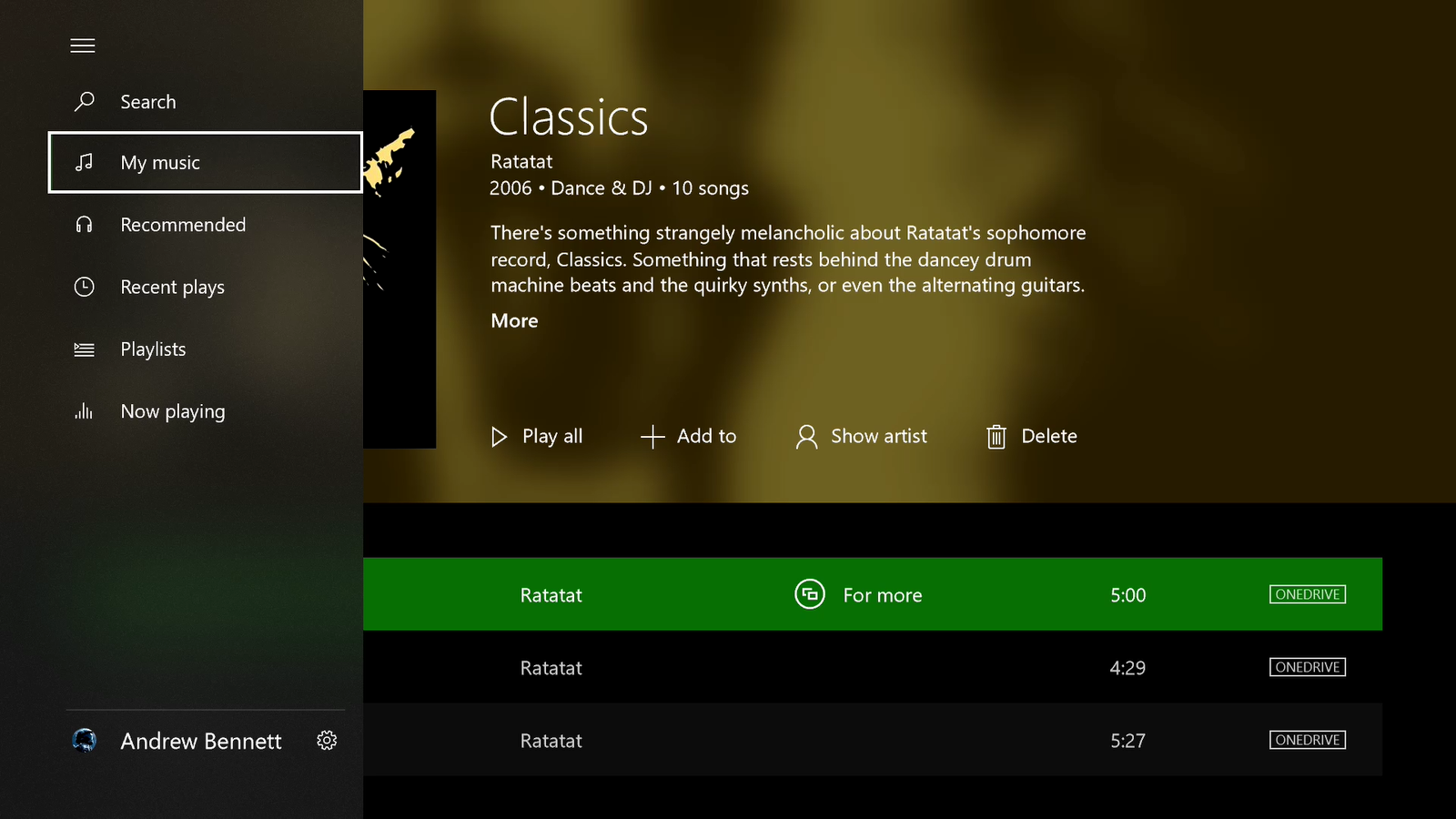 Groove Music's Xbox One version gets Acrylic in its latest update 1