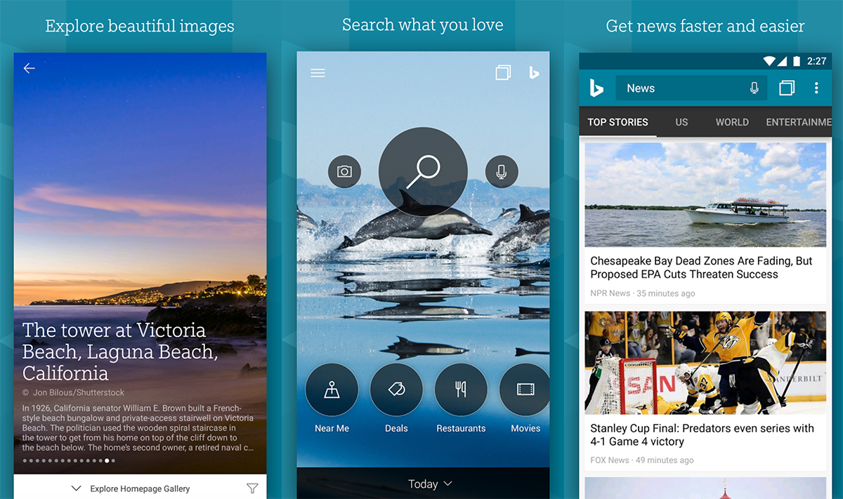 bing for android updated with customized news feed improved search