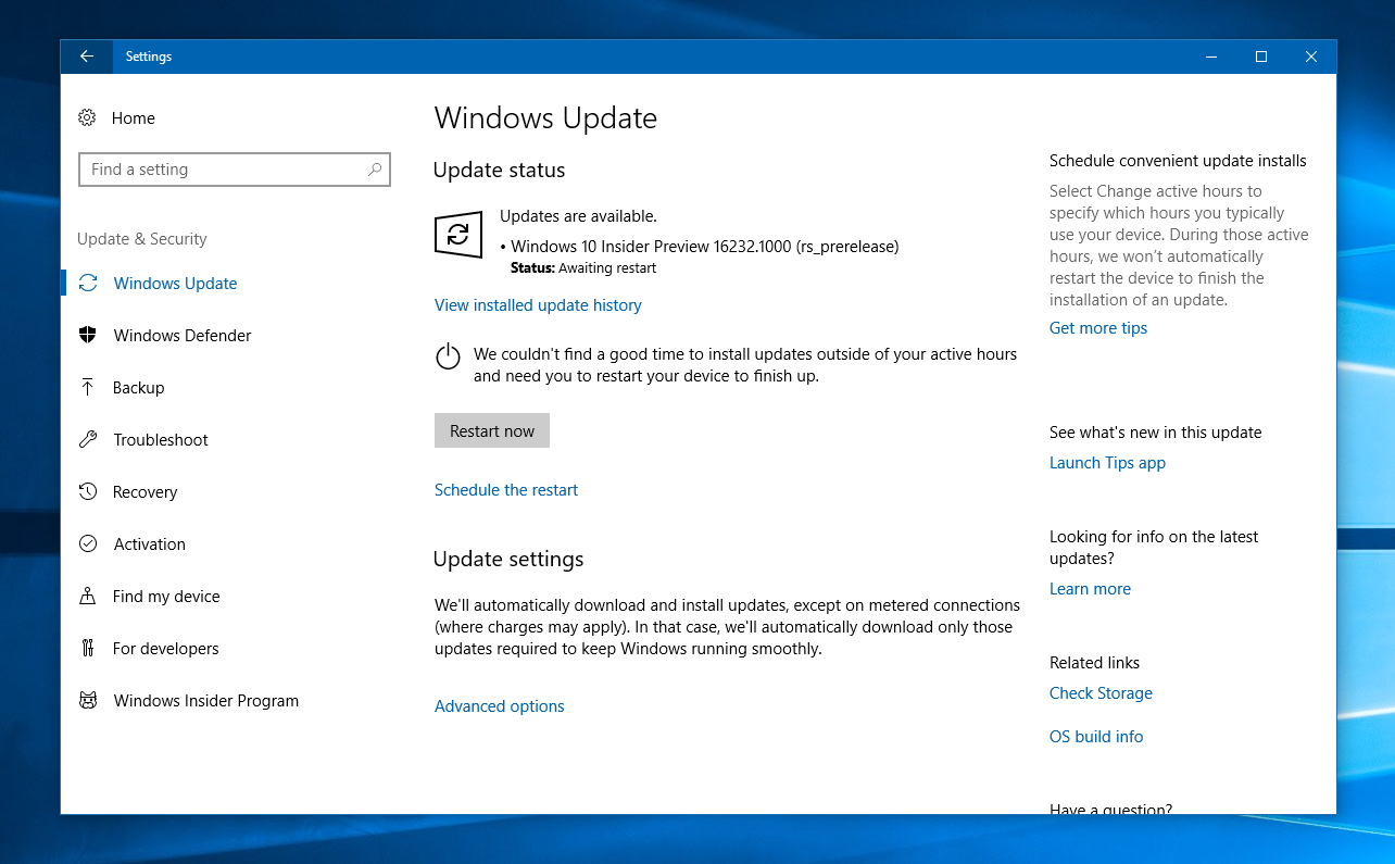 Windows insiders in the slow ring finally get all the for Windows 10 update