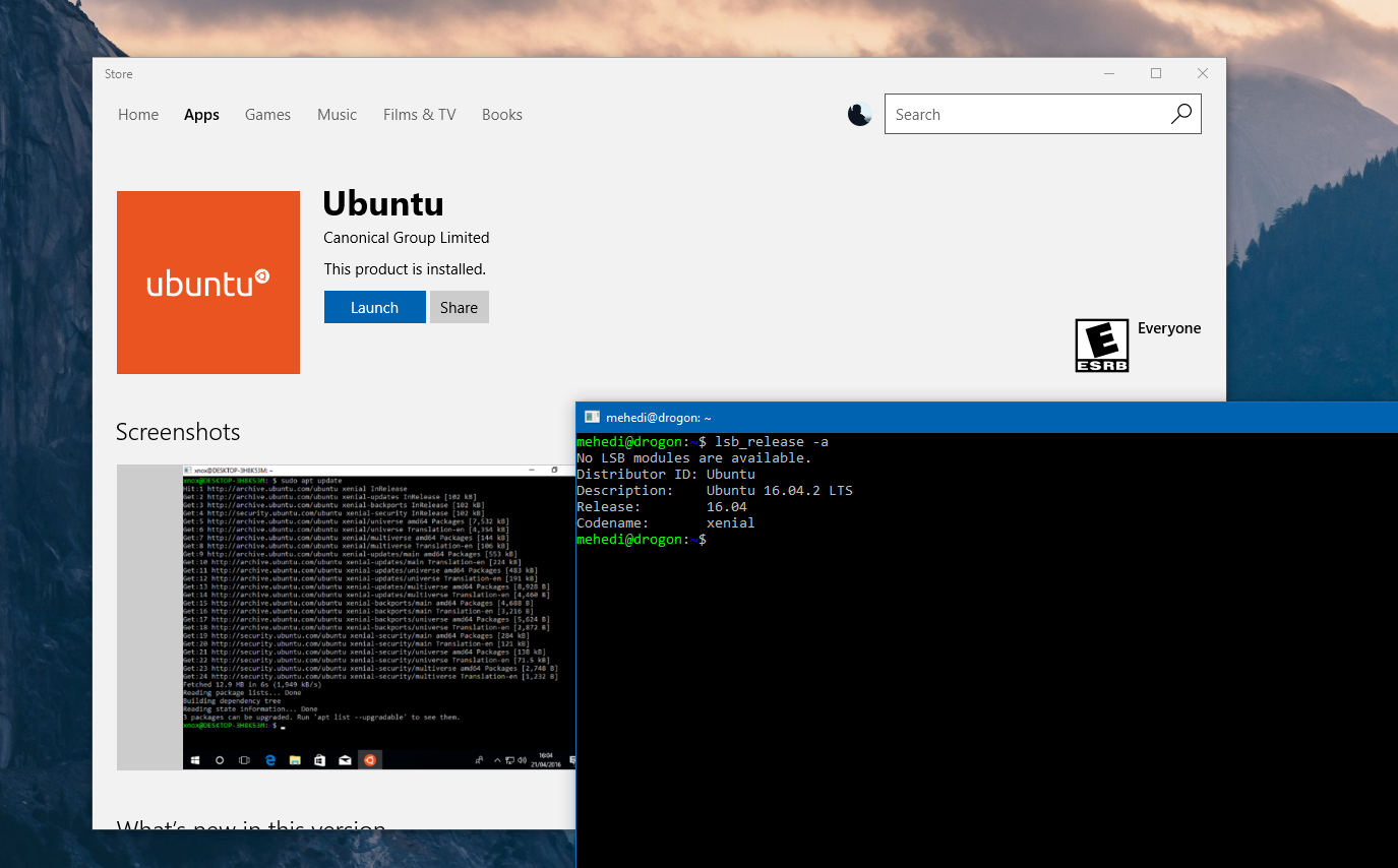 ff263af482f Following SUSE Linux, Ubuntu is making its way to the Windows Store today.  Windows Insiders running Windows 10 Insider Preview build 16190 or newer  can ...