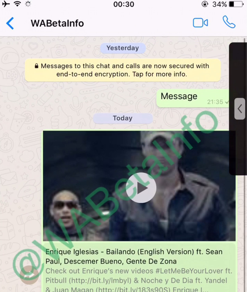 WhatsApp currently testing an In App Youtube playback for Videos