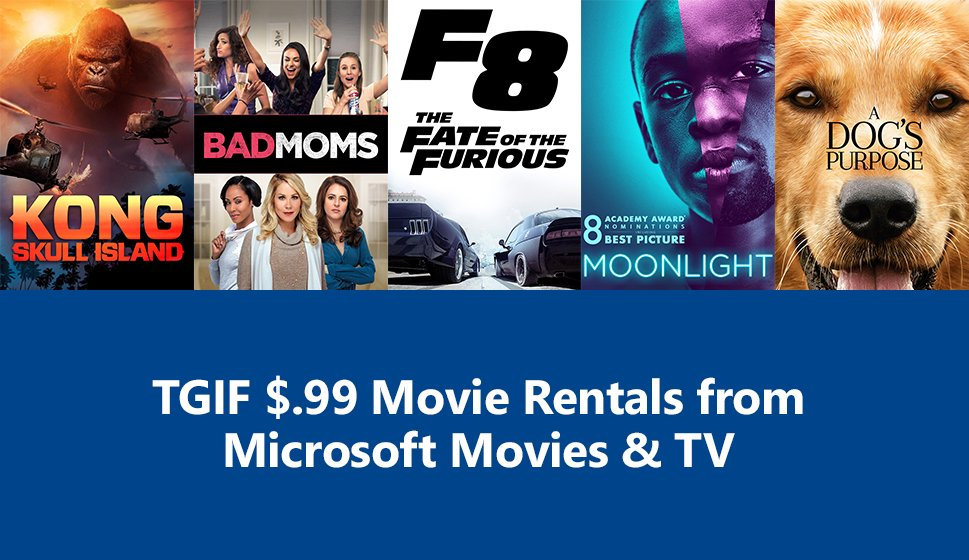 Deal Alert: Rent 2017 movies F8: Fate of the Furious, Kong: Skull Island, A Dog's Purpose and more for only $0.99 1