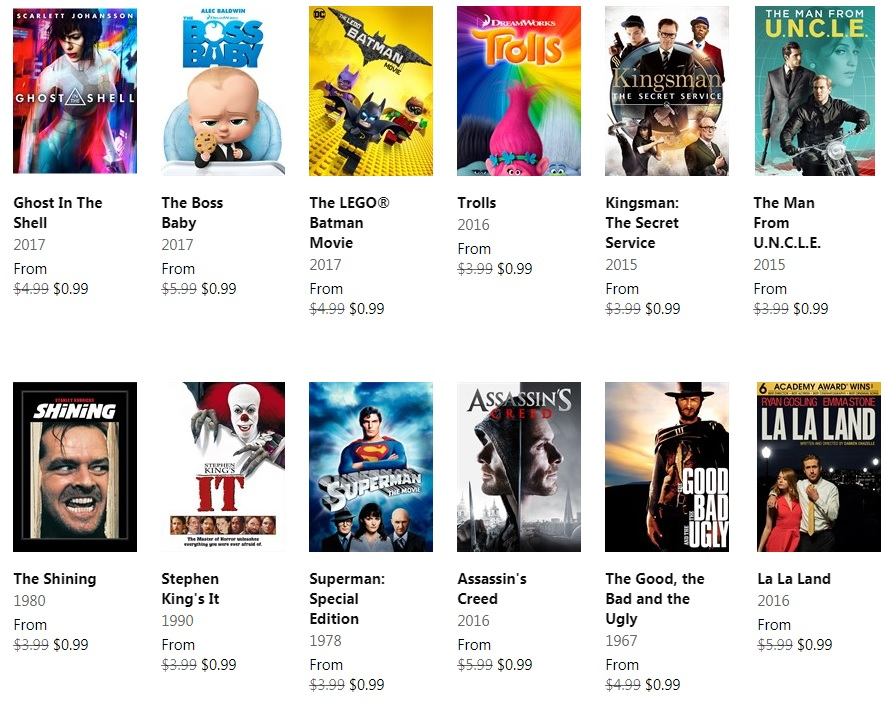 Deal Alert: Rent great movies including Ghost in the Shell, La La Land and more for only $0.99 2