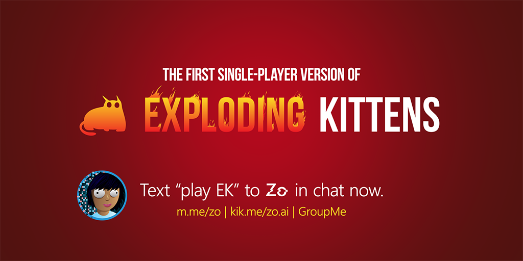 Microsoft brings first ever single player version of Exploding Kittens card game to its Zo bot 1