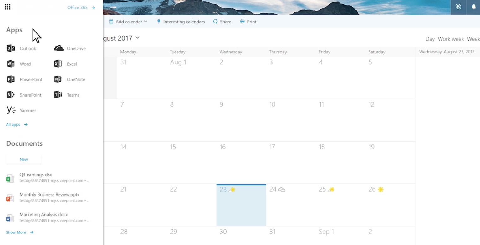 Office 365's redesigned app launcher ditches tiles for a much simpler user interface 1