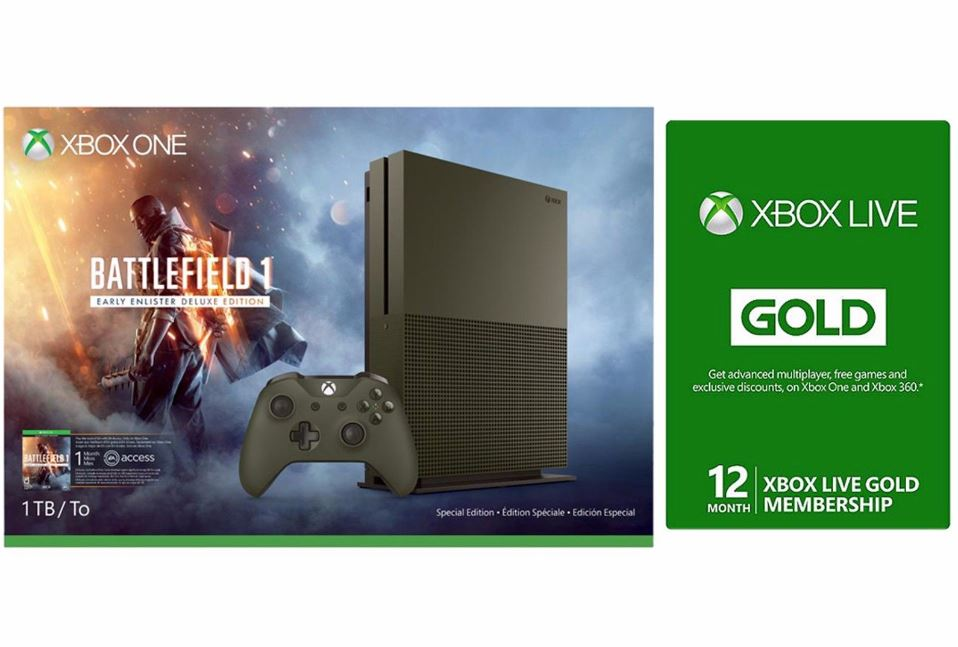 Deal: Get Xbox One S 1TB Battlefield 1 Special Edition Bundle with 12-Month  Xbox Live Gold for just $270 - MSPoweruser
