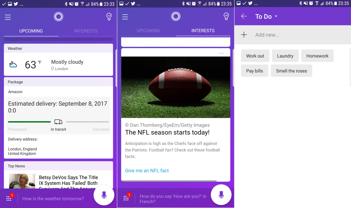 Cortana for iOS and Android gets new quick actions widget