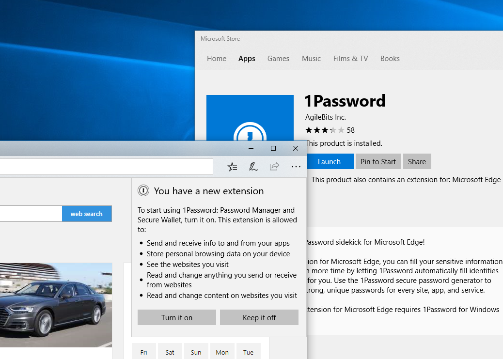 1Password finally has an extension for Microsoft Edge