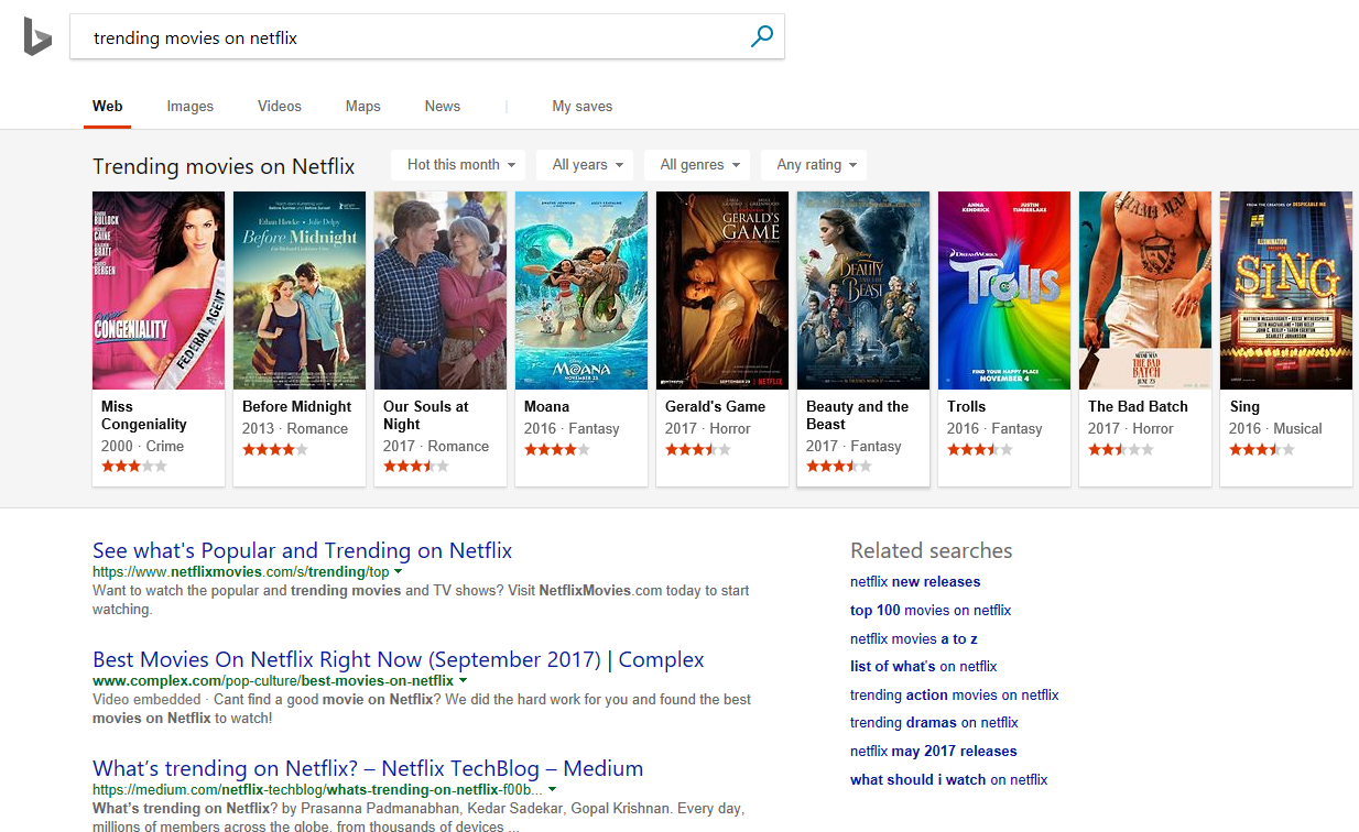 Microsoft Bing Now Shows Trending Content On Netflix And