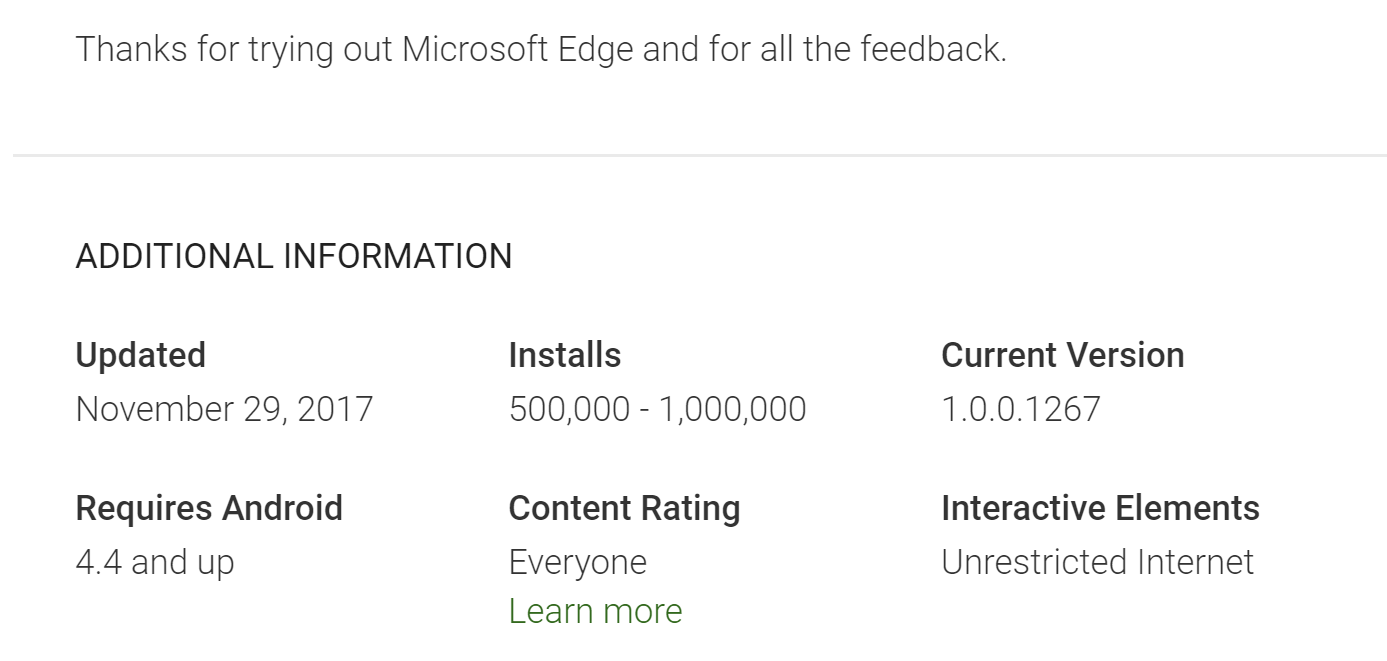 Edge for Android racks up over 500,000 downloads - MSPoweruser