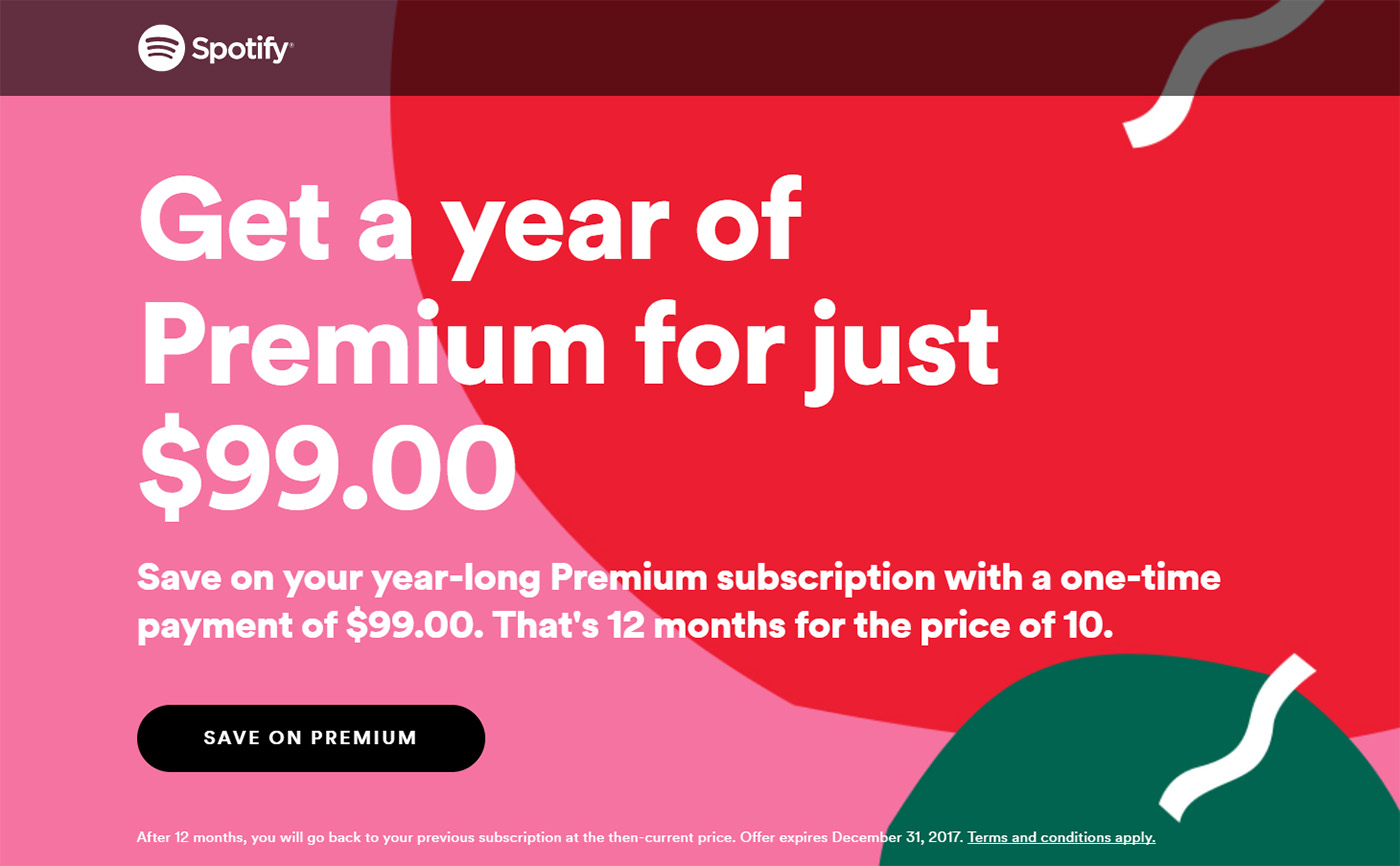 You Can Get Spotify Premium for the Next Year for Just $99