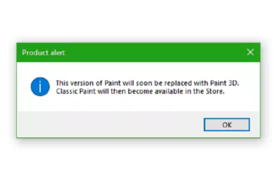 Popup confirms Paint.exe's fate next year 13