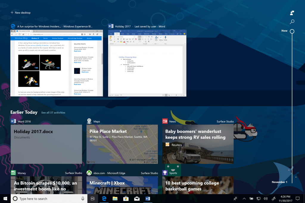 Windows 10 Preview Build 17063 for PC finally delivers Timeline to Insiders 1