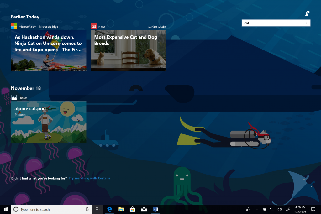 Windows 10 Preview Build 17063 for PC finally delivers Timeline to Insiders 3