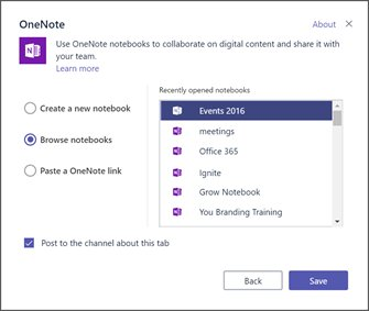 Microsoft Teams now allows you to include an existing OneNote
