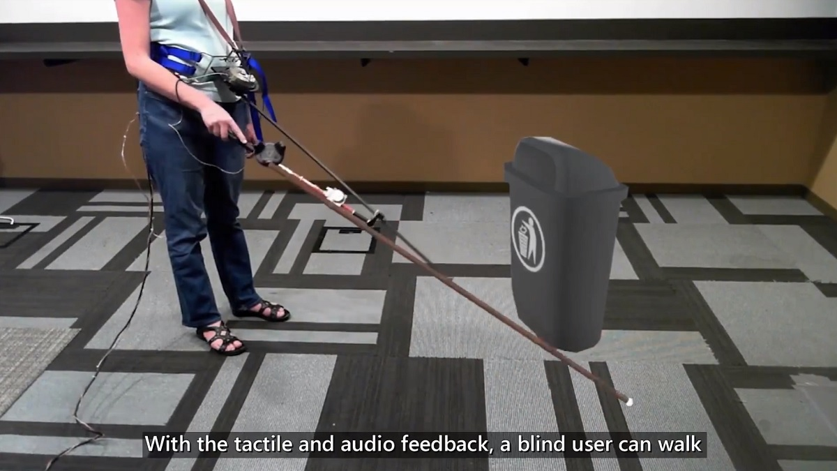 Microsoft creates novel cane controller which lets visually impaired navigate in VR 1