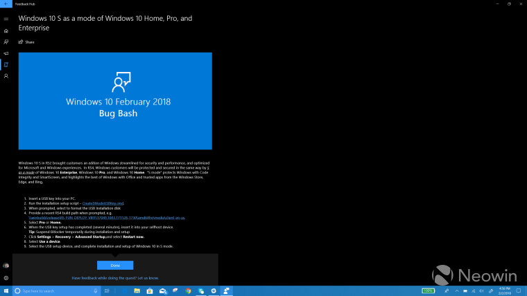 Insider Bug Bash quest suggests locked down Windows 10 Home