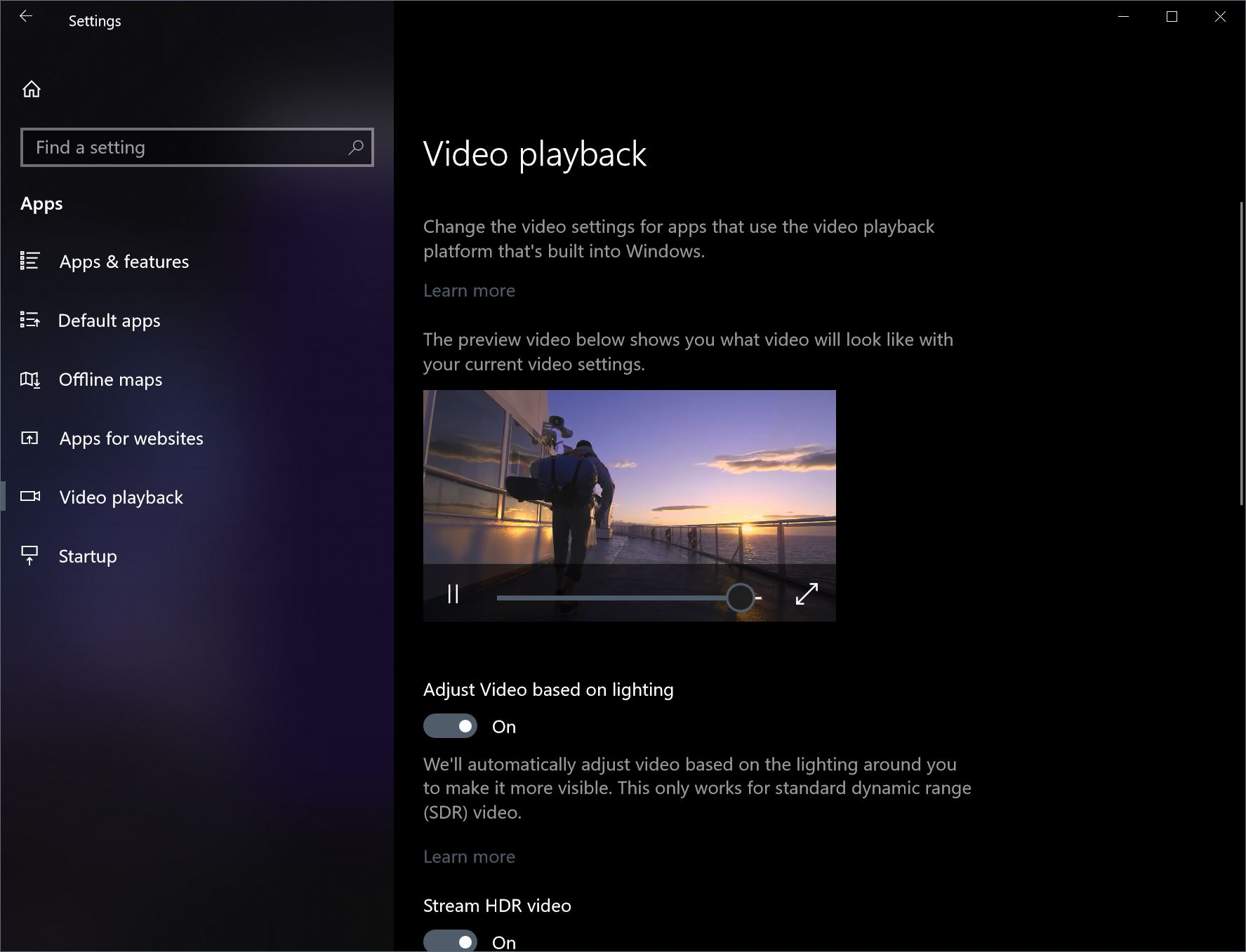 How to activate HDR video on the Windows 10 Spring 2018