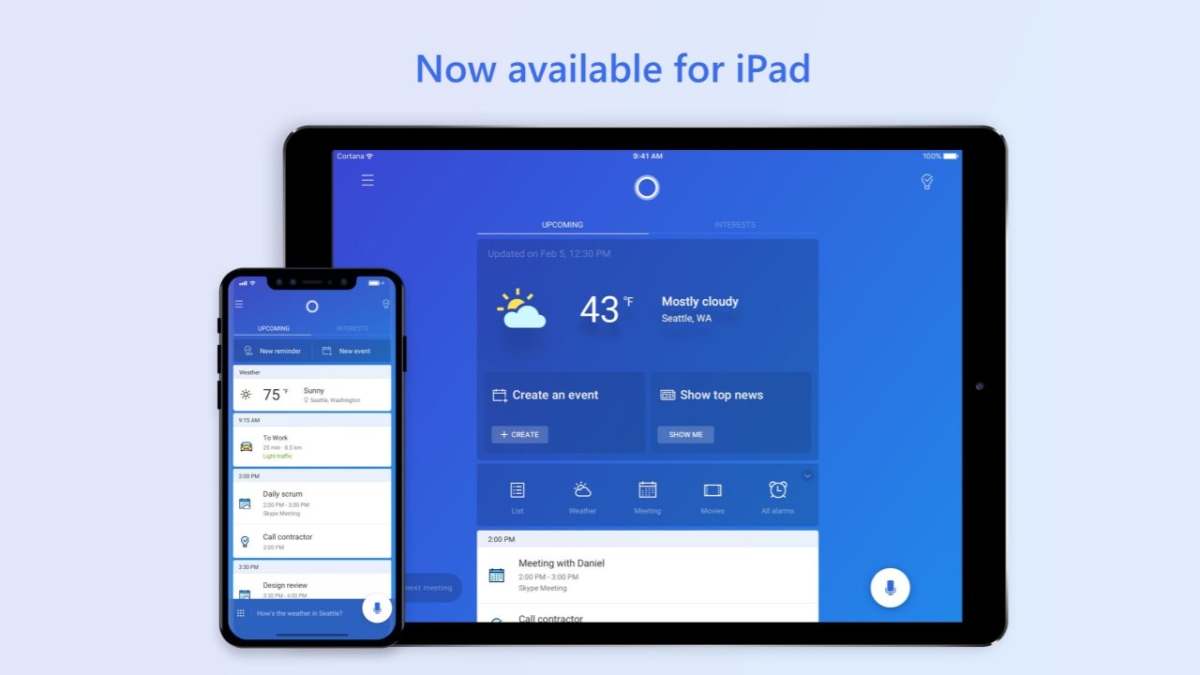 Microsoft releases Cortana for iPad