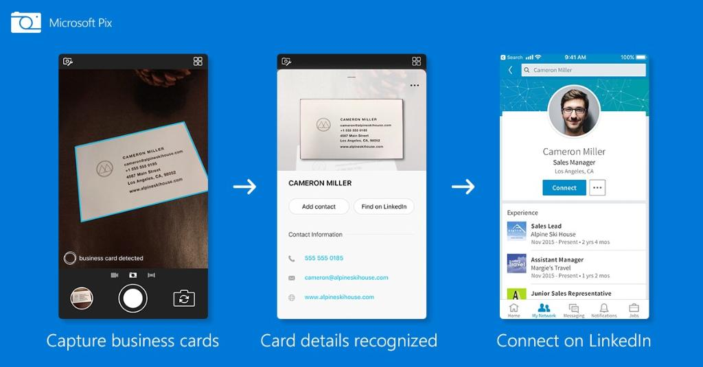 Microsoft pix ai camera app for iphone gets business card scanning microsoft today released a new update for their pix intelligent camera app for iphone this new update comes with a brand new business card feature that reheart