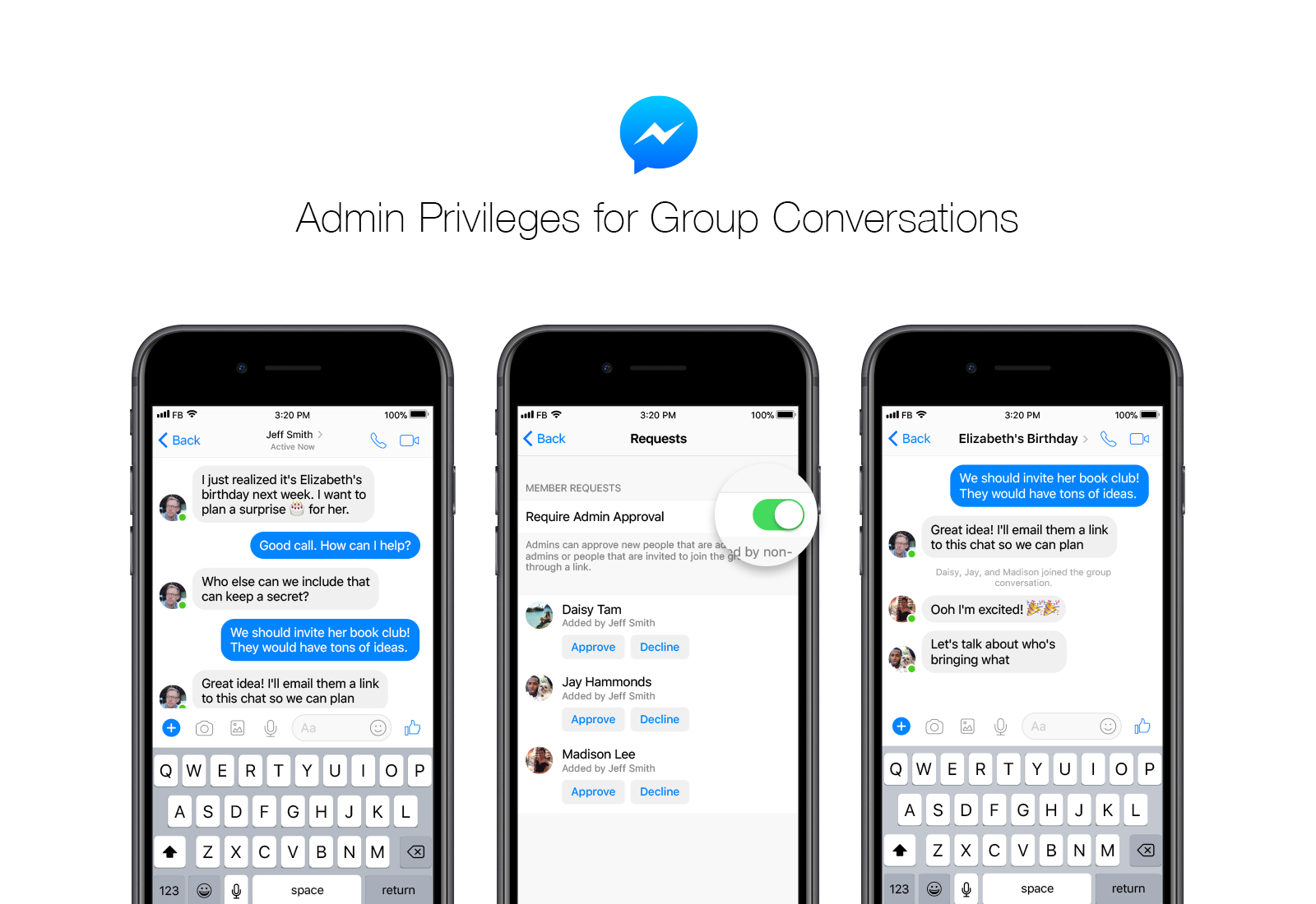 Facebook Messenger adds support for admin privileges
