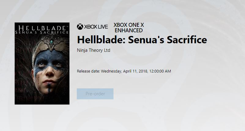 Hellblade Senua's Sacrifice heads to Xbox One in April