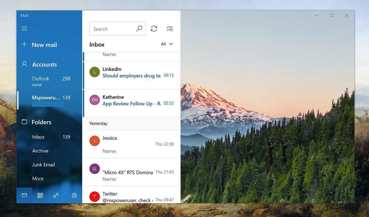 Microsoft Windows 10 Mail Fluent Design update adds densifying features 1