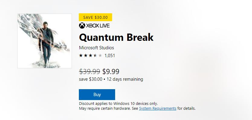 Quantum Break is currently 75% off on Windows 10 2