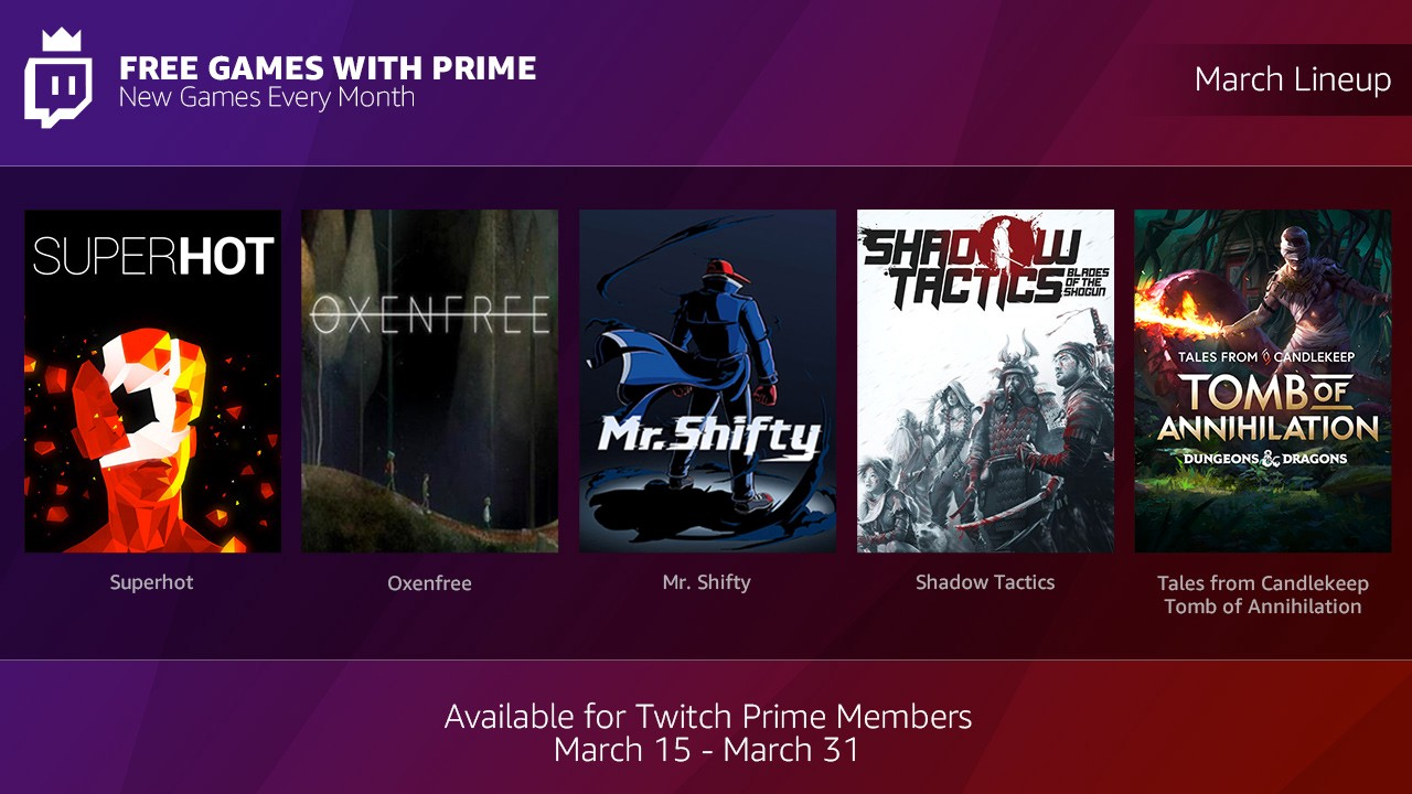 Twitch Prime subscribers will now get free monthly games