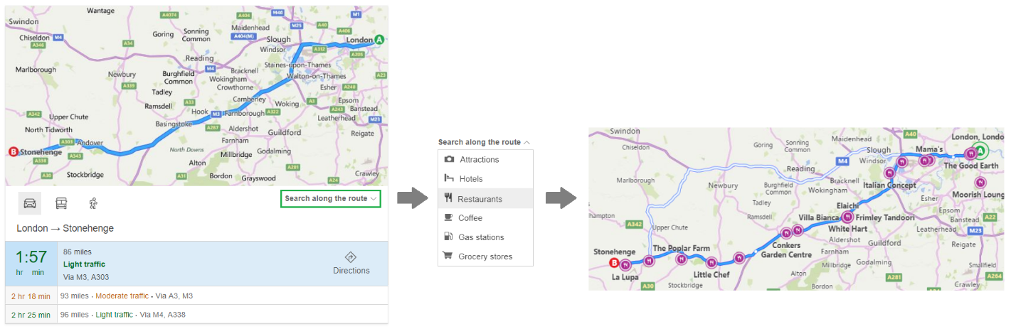 improved experience for directions queries when you search for driving directions bing now lists out alternate driving routes and provide information like