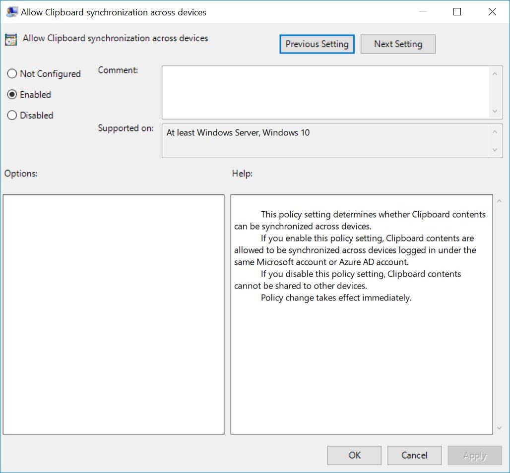 Cloud Clipboard once again confirmed by Windows 10 RS5 Group Policy 2