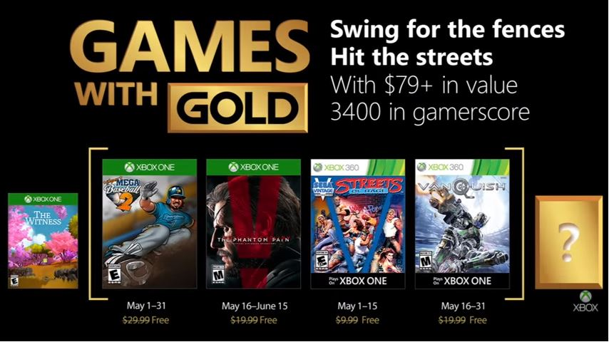 Games With Gold for May include Metal Gear Solid 5, Vanquish, more