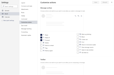 Customsing your Outlook.com email actions 1