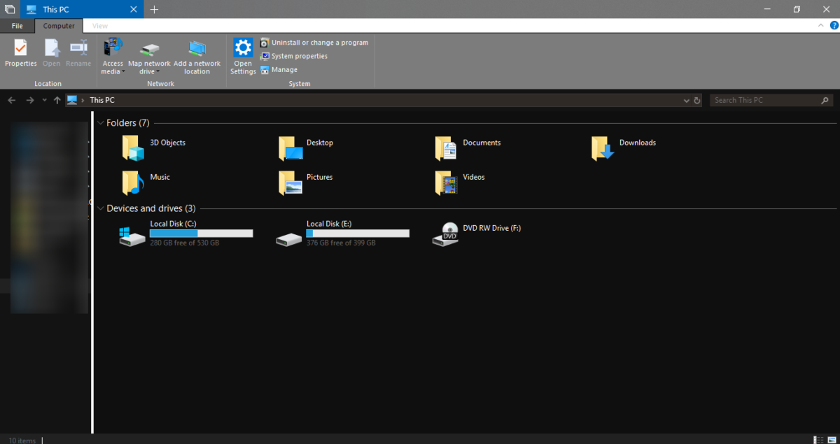 windows file explorer dark theme