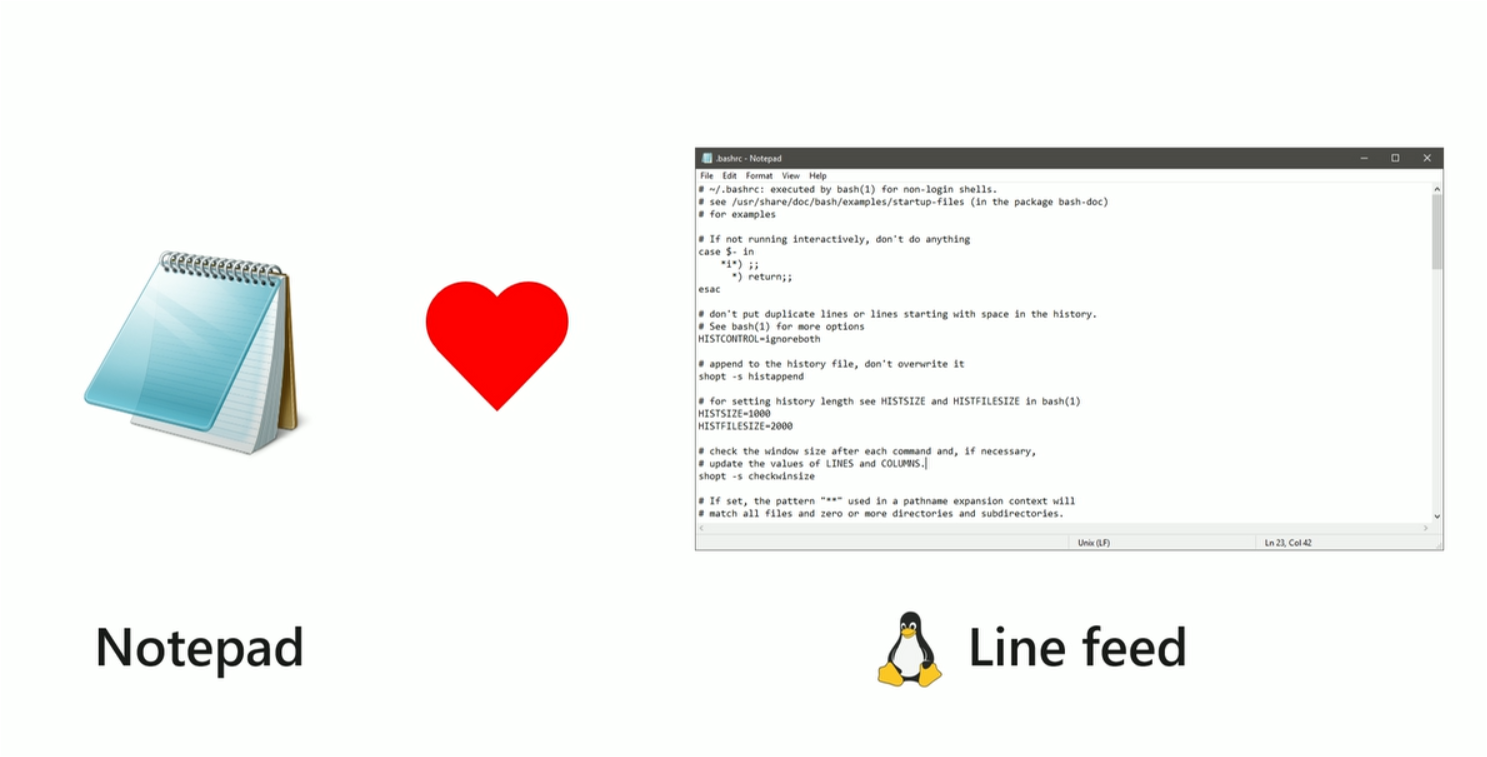 Windows Notepad now supports Linux line feeds