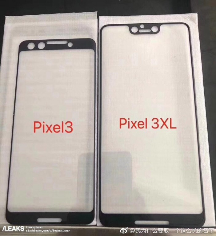 Leaked Pixel 3 and Pixel 3 XL screen protectors confirm notch and stereo speakers