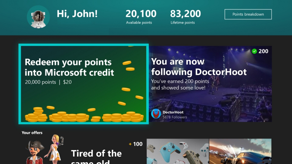 Microsoft Rewards app is now available for everyone on Xbox One