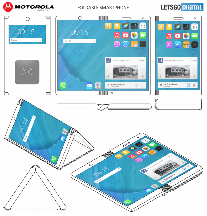 Motorola working on a foldable smartphone, files a patent for the device