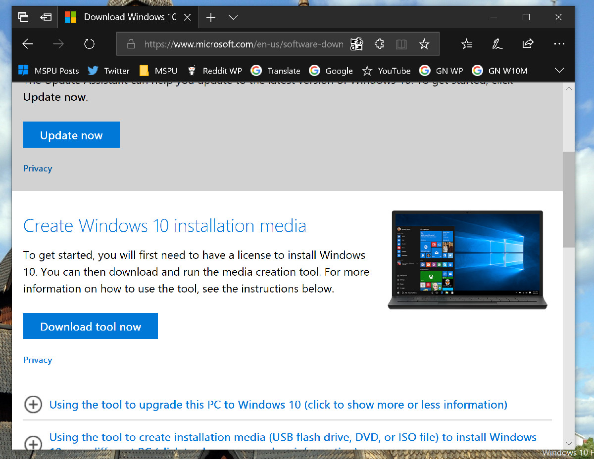 Tip: How to easily download the Windows 10 ISO without using