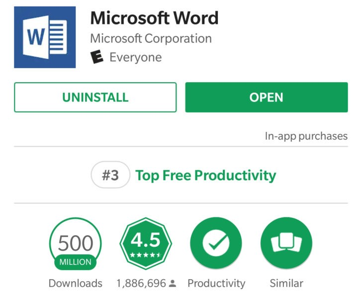 Success: Microsoft's Word app for Android app hits 500 million downloads 2