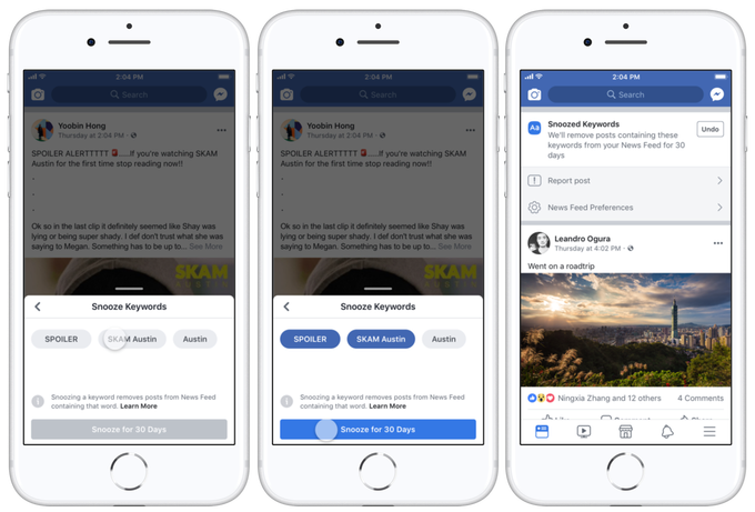 Facebook's 'keyword snooze' allows users to avoid ex, spoilers and grim news