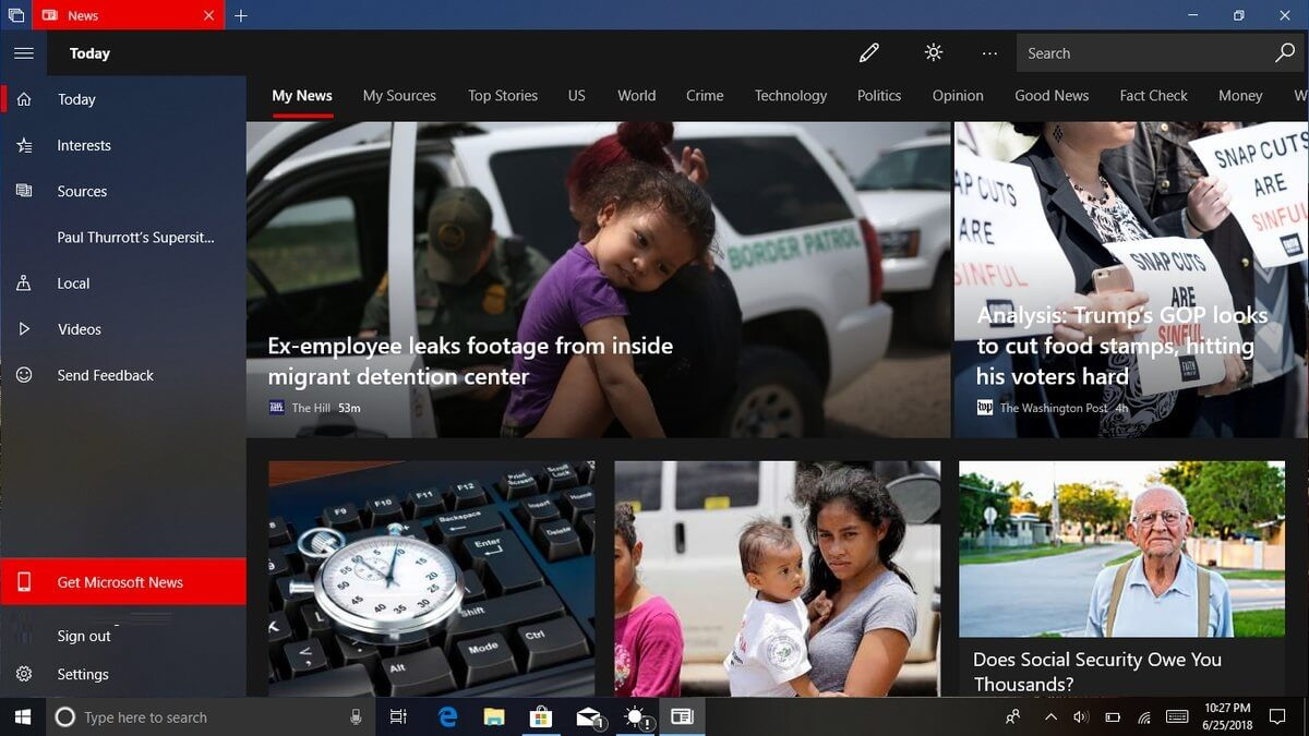 Microsoft brings its updated news app to Windows 10 devices