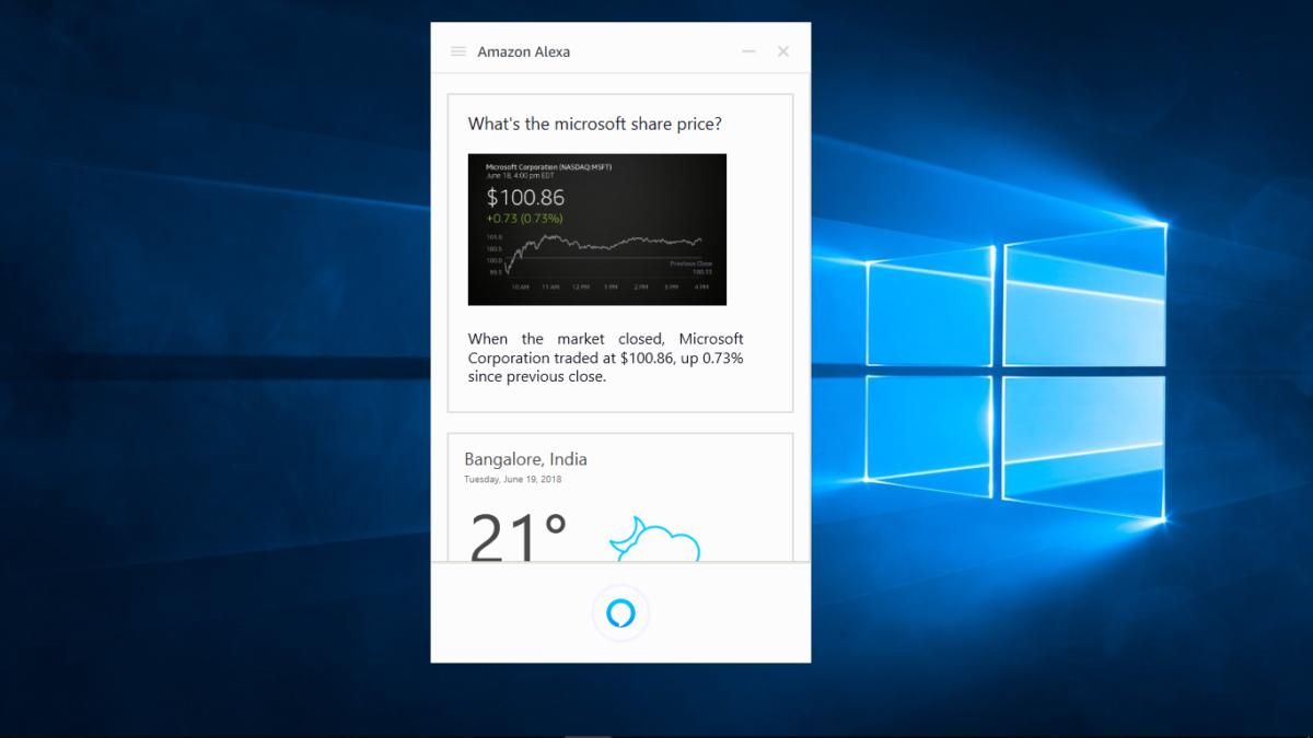 e7d744fefc3665 Microsoft has been working with Amazon to integrate Alexa into Windows 10.  However, Alexa is limited to very few OEMs like HP, Lenovo, and Acer.