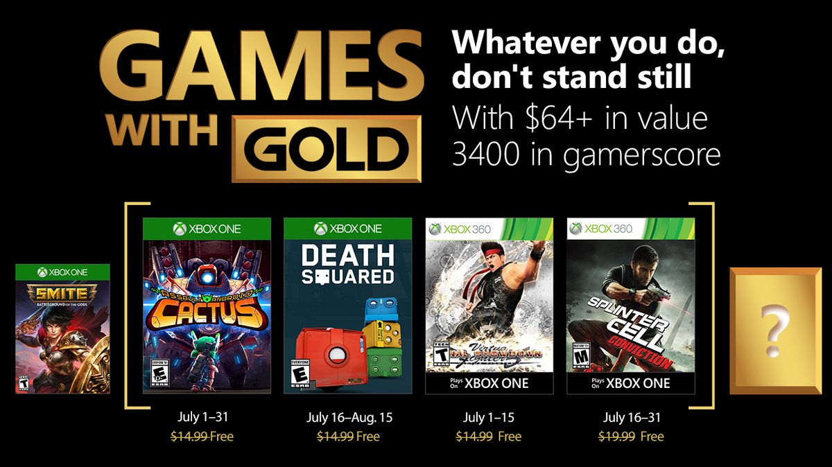 Xbox Games With Gold for July 2018 Announced