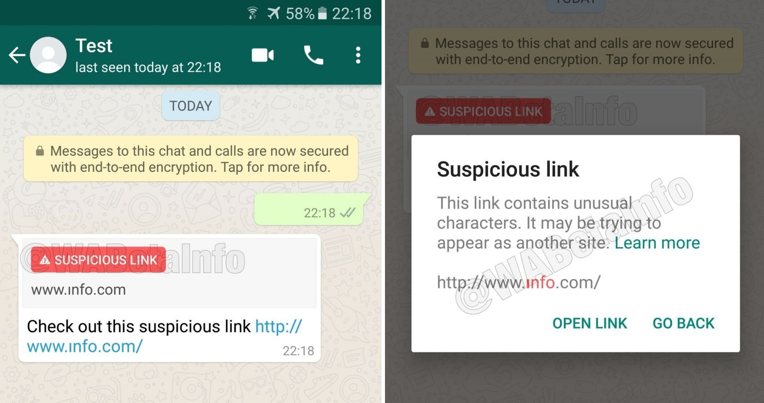 WhatsApp adds suspicious link detection feature to Android 1