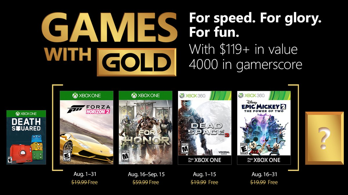 Games With Gold for August include Forza Horizon 2, For Honor, more