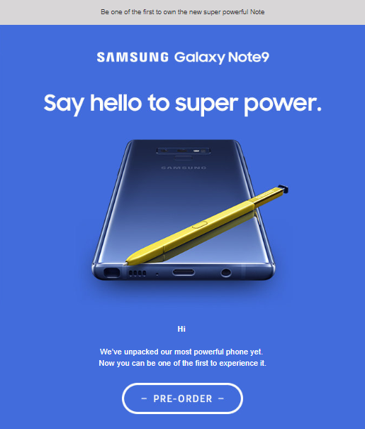Galaxy Note 9 is shown on the official image